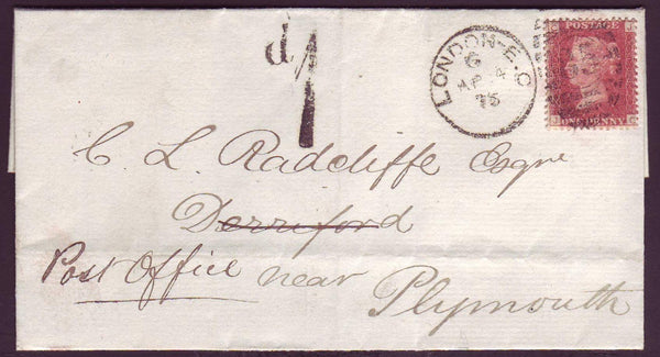 78424 - 1876 RE-DIRECTED MAIL. Wrapper London to Derriford near...