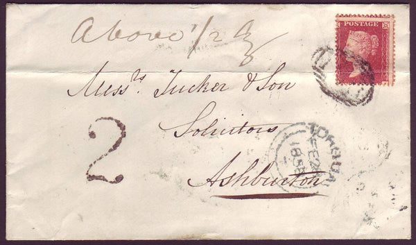 78426 -1858 UNDERPAID MAIL.  Envelope Brixham to Ashburton wi...