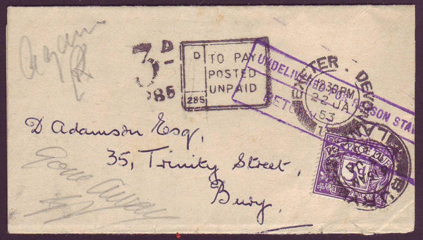 "78577 - 1953 UNPAID MAIL. Newspaper wrapper from ""WEST OF ENGLAND STAMP..."