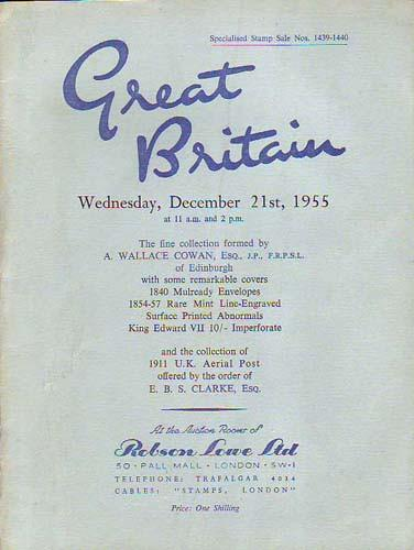 78620 - GREAT BRITAIN DECEMBER 21ST 1955 by Robson Lowe. V...