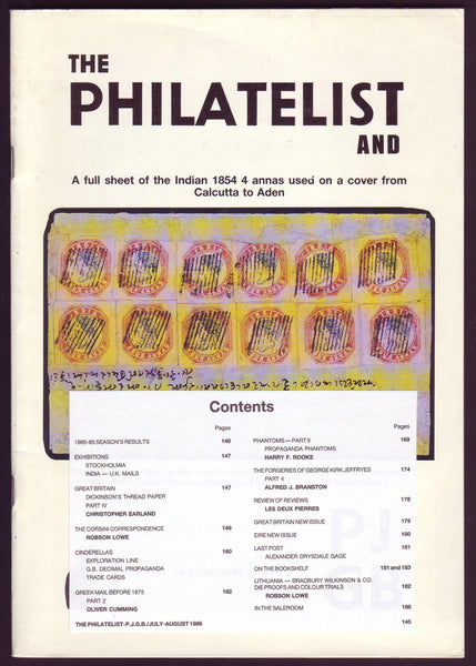 79010 - THE PHILATELIST and PJGB JUL-AUG 1986. Contents incl...