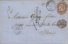 79195 - 1865 UNDERPAID MAIL LONDON TO FRANCE. Entire London to Pa...