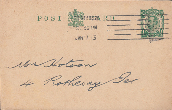 79250 - ADVERTISING. 1913 KGV ½d Downey Head postcard used...
