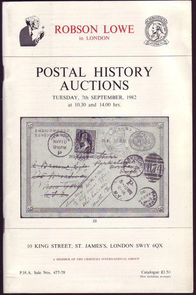 79309 - ROBSON LOWE POSTAL HISTORY AUCTIONS. 7 September 1...