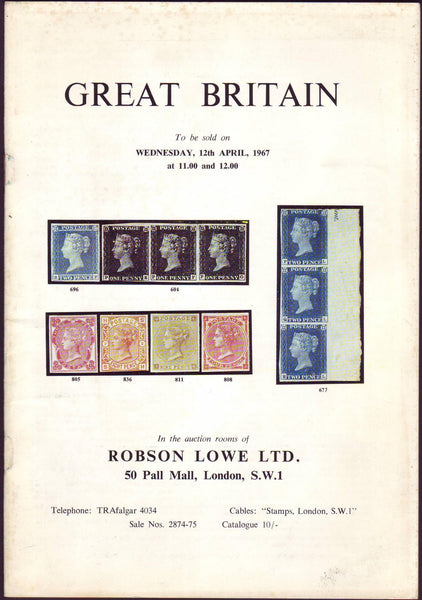 79314 - GREAT BRITAIN: Robson Lowe auction 12 April 1967. ...