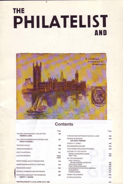 79353 - THE PHILATELIST and PJGB JULY-AUG 1988. Contents inc...