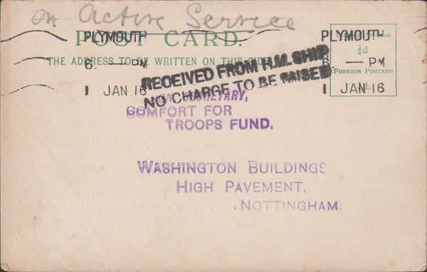 "79414 - 1915 UNPAID FORCES MAIL. Post card Devonport to Nottingham ms ""O..."