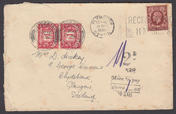 79420 - 1935 UNDERPAID MAIL PLYMOUTH TO GLASGOW. 1935 envelope (on reverse in...
