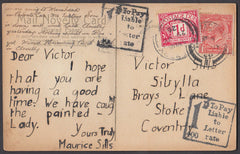 79426 - 1926 UNDERPAID MAIL ILFRACOMBE TO COVENTRY. 1926 postcard Ilfracombe to Cov...