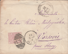 80322 - 1877 MAIL BATH TO POLAND. Envelope Bath to Varsovie (re...