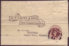 80341 CIRCA 1890 'W.H. SMITH AND SON' NEWSPAPER WRAPPER TO SWITZERLAND.