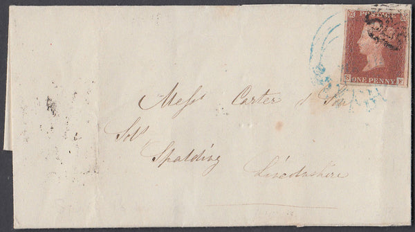80468 - 1845 MAIL BIRMINGHAM TO SPALDING/OFFSET SPALDING DATE STAMP IN BLUE ON STAMP.  Wrapper Birmingham to Spalding with a ...