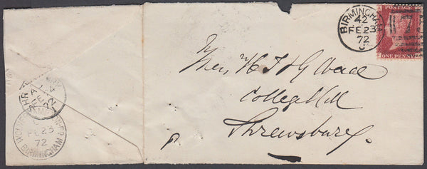 80548 - BIRMINGHAM/Pl.152(FA)(SG43). 1872 envelope (opened out ...