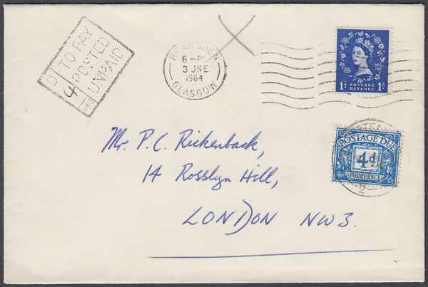 80628 - 1963 UNPAID MAIL. Envelope Glasgow to London with 1d Wilding ca...