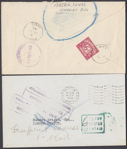 80750 - 1962 UNPAID/UNDELIVERED MAIL ROYSTON TO LONDON. 1962 envelope Royston to London, postage unpaid, c...