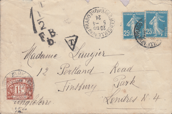 80799 - 1924 UNDERPAID MAIL MARSEILLE TO LONDON. 1924 envelope (slight imperfections) France to Lon...
