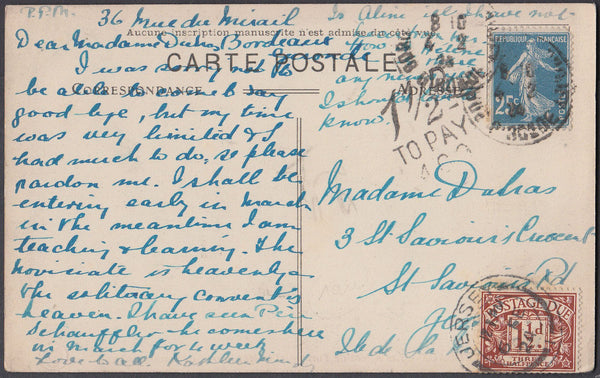80802 - 1924 UNDERPAID MAIL FRANCE TO JERSEY. 1924 post card France to Jersey with French 25c can...