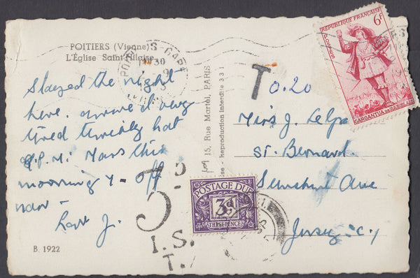 80833 - 1953 UNDERPAID MAIL FRANCE TO JERSEY.