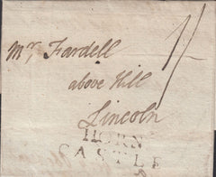 80925 - LINCOLNSHIRE/1790 HORNCASTLE TWO LINE HAND STAMP(LI530) . 1790 letter dated 24 November Hornca...
