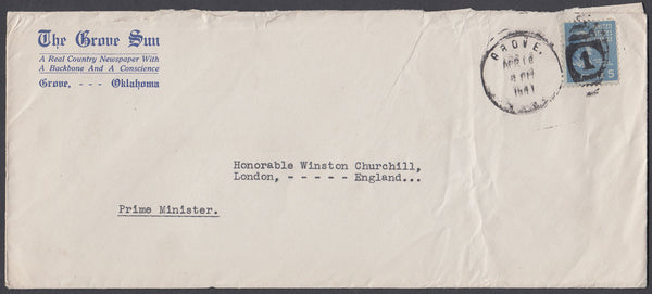 81092 - 1941 ENVELOPE TO WINSTON CHURCHILL. Envelope addre...