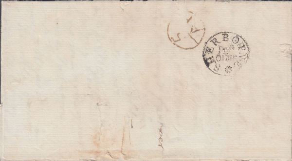 81554 - 1782 DORSET/SHERBORNE POST OFFICE HAND STAMP (DT505). 1782 letter (rather fragile) Sherborne to ...