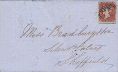 82105 - PL.142 (EL)(SG8) ON COVER. 1853 letter Birmingham to Sheffi...