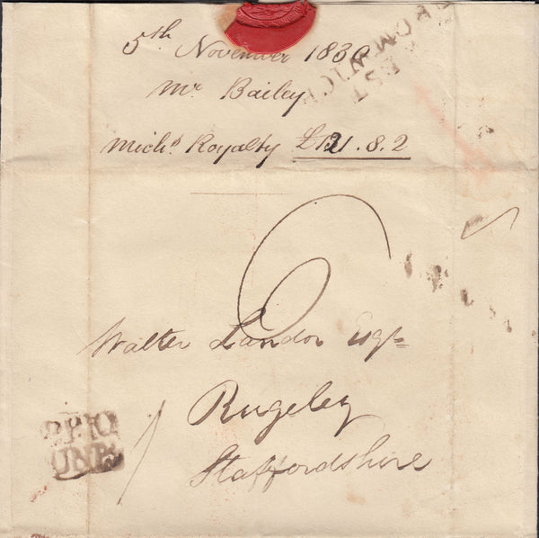 82199 - 1830 BIRMINGHAM PENNY POST/WEST BROMWICH. 1830 letter Greets Green Co...