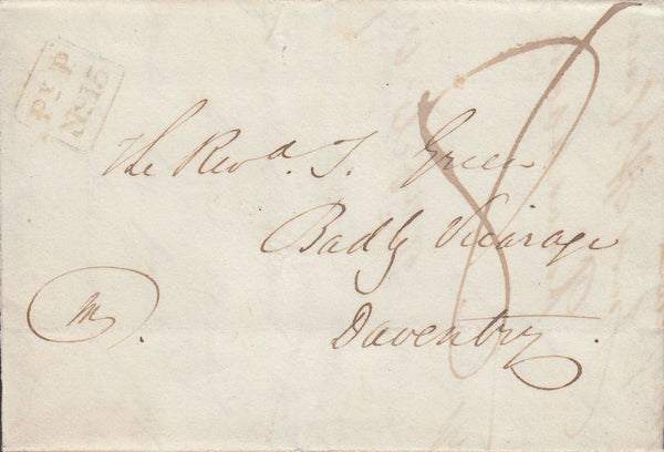 82343 - 1837 BIRMINGHAM PENNY POST. 1837 entire Hansworth to Daventry date...