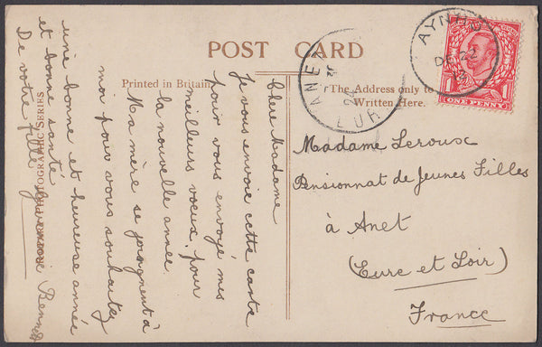 82507 - 1912 NORTHANTS/MAIL AYNHO TO FRANCE. Post card Aynho to France with KGV...