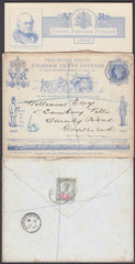 82585 - 1890 PENNY POSTAGE JUBILEE ENVELOPE SENT REGISTERED MAIL 2ND JULY 1890. Used 1d blue envelope ...