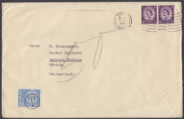 82635 - 1960 UNDERPAID MAIL DIDCOT TO ZURICH. Large envelope (216x140mm) Didcot t...