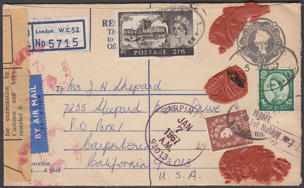 82854 1967 QE2 2/1d grey registered envelope London to California.