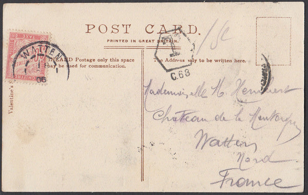 83187 - LONDON AND DOVER SORTING CARRIAGE/UNDERPAID POSTAGE. 1906