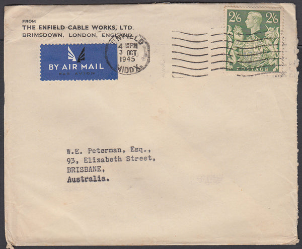 83266 - 1945 MAIL ENFIELD TO AUSTRALIA 2/6D YELLOW-GREEN (SG476b). Envelope Enfield to Brisbane Australia with K...