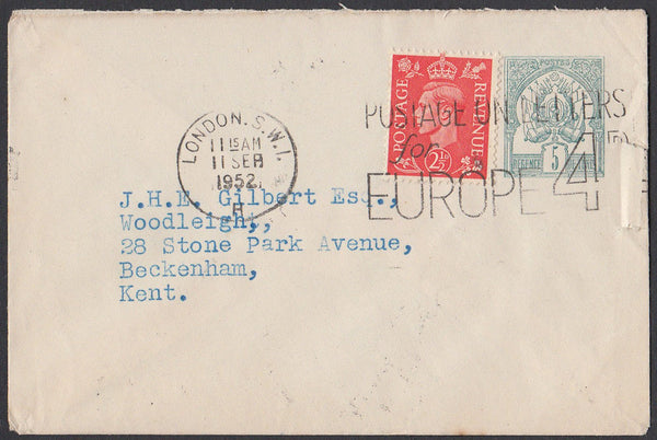 83271 - 1952 Tunisian postal stationery envelope London to...