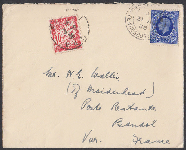 83275 - 1936 UNDERPAID MAIL TEWKESBURY TO FRANCE. 1936 envelope Tewkesbury to a poste restante Bando...