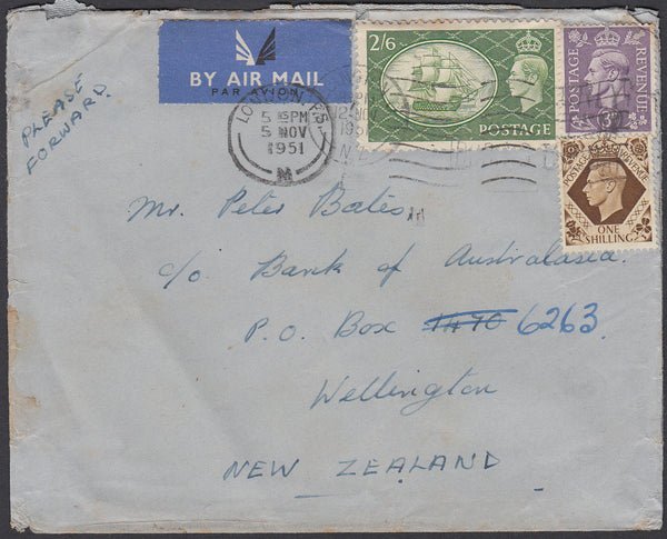 83426 - 1951 MAIL LONDON TO NEW ZEALAND 2/6D YELLOW-GREEN (SG509). Envelope London to Wellington Ne...