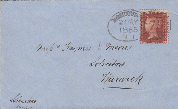 83495 - BIRMINGHAM SPOON TYPE A1 (RA2) ON COVER. 1855 envelope Birm...