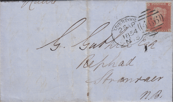 83499 - LIVERPOOL SPOON (RA15) ON COVER. 1854 letter Liverpool to S...