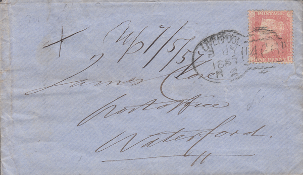 83524 - LIVERPOOL SPOON TYPE B2 RE-CUT (RA58) ON COVER. 1857 envelope Liverpool to...