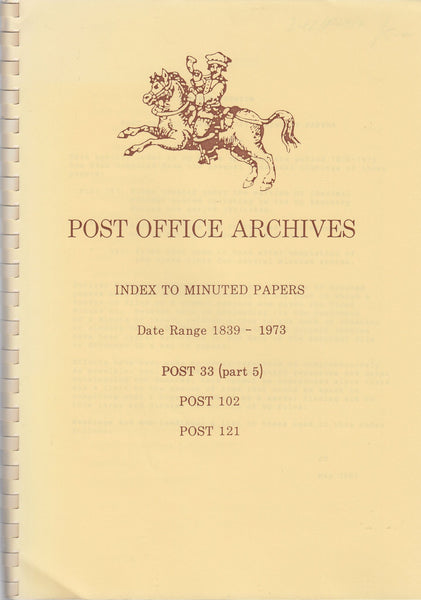 83551 - POST OFFICE ARCHIVES: INDEX TO MINUTED PAPERS: DAT...