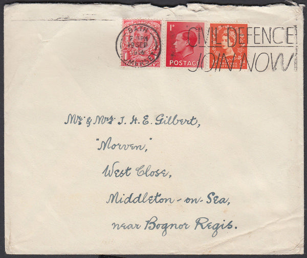 83638 - 1956 envelope Bath to Bognor Regis with KGV 1d Dow...