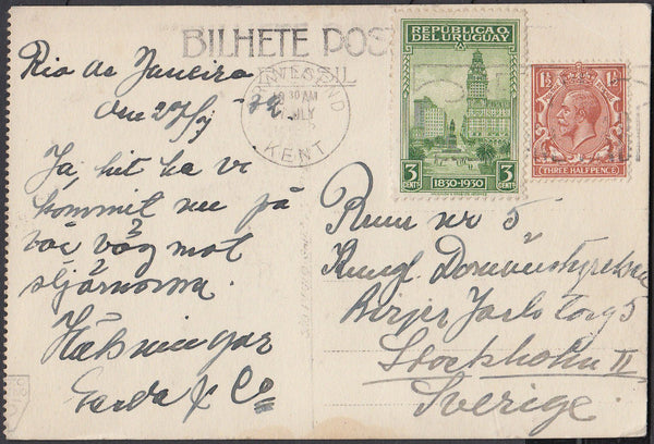 83691 - CIRCA 1930 MAIL GRAVESEND TO SWEDEN PLUS URUGUAYAN STAMP!. Post card Gravesend to Sweden with KGV 1½d an...