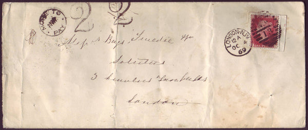 83741 - 1869 REUSE OF  1D PENNY PLATE NUMBER (SG43)(TC) ON COVER. Envelope (218x91)