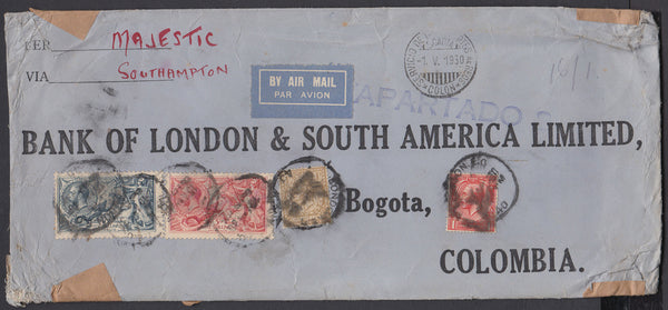 83777 - 1930 'SCADTA' MAIL LONDON TO COLOMBIA/5s (SG416) AND 10S (SG417) SEAHORSES. Large envelope (266x112mm) London...