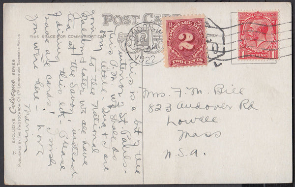 83805 - 1922 UNDERPAID POSTCARD TO USA. Post card London to...
