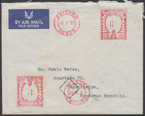 83839 1953 MAIL TO HONDURAS.