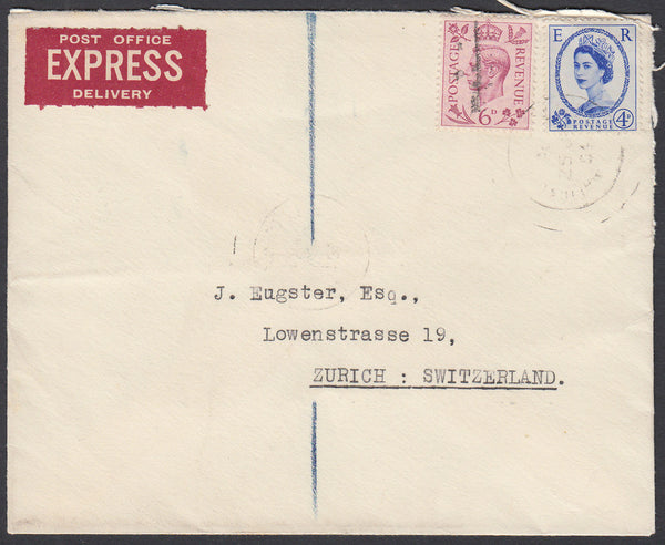 83881 - 1954 EXPRESS MAIL LONDON TO SWITZERLAND/MIXED REIGNS. Envelope London ...