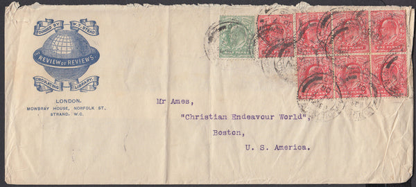 83889 - 1905 ADVERTISING LONDON TO BOSTON USA. Large envelope (220x98), some creasing London to Boston USA wi...