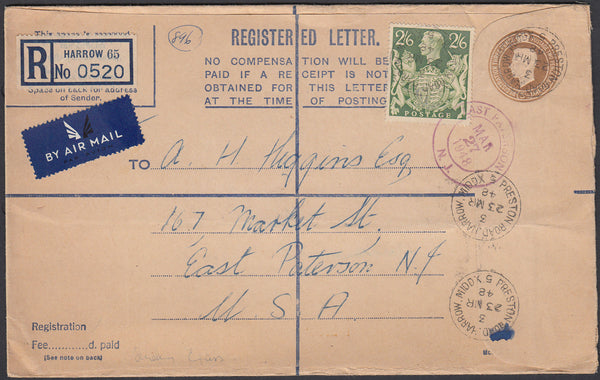 83896 - 1948 REGISTERED MAIL HARROW TO USA 2/6D YELLOW-GREEN (SG476b). KGVI 5½d bistre registered envelope Harrow to...